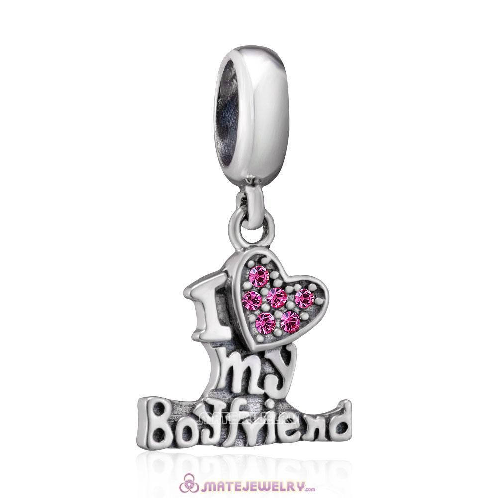 925 Sterling Silver I Love my Boyfriend Charms with Rose Crystal