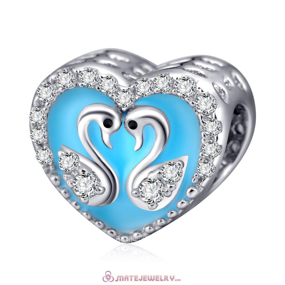 925 Sterling Silver Heart of Swan Charms Beads