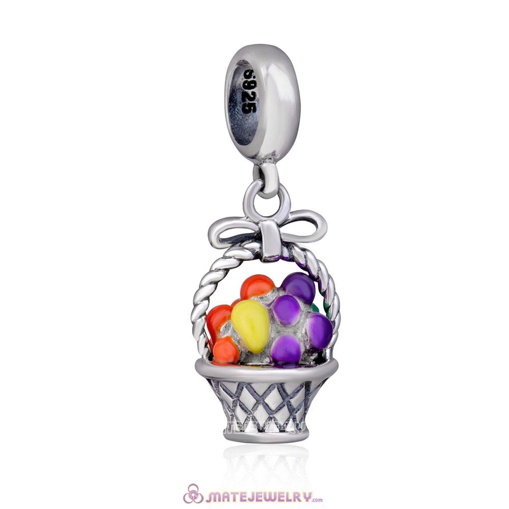 925 Sterling Silver Fruit Basket Charms Beads