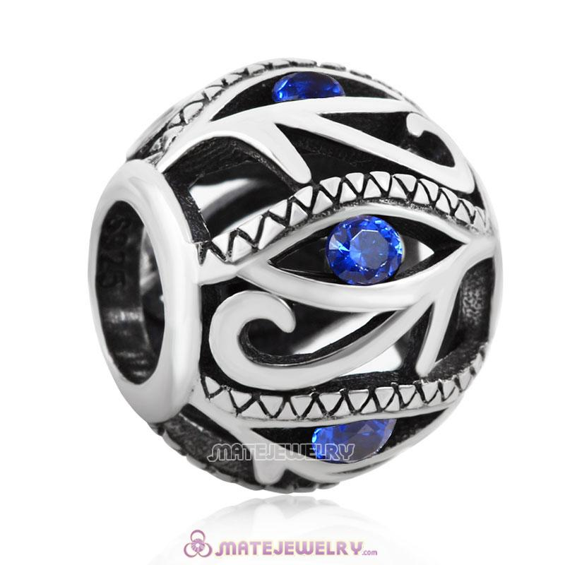 Evil Eye Charm 925 Sterling Silver Bead with Sapphire Stones