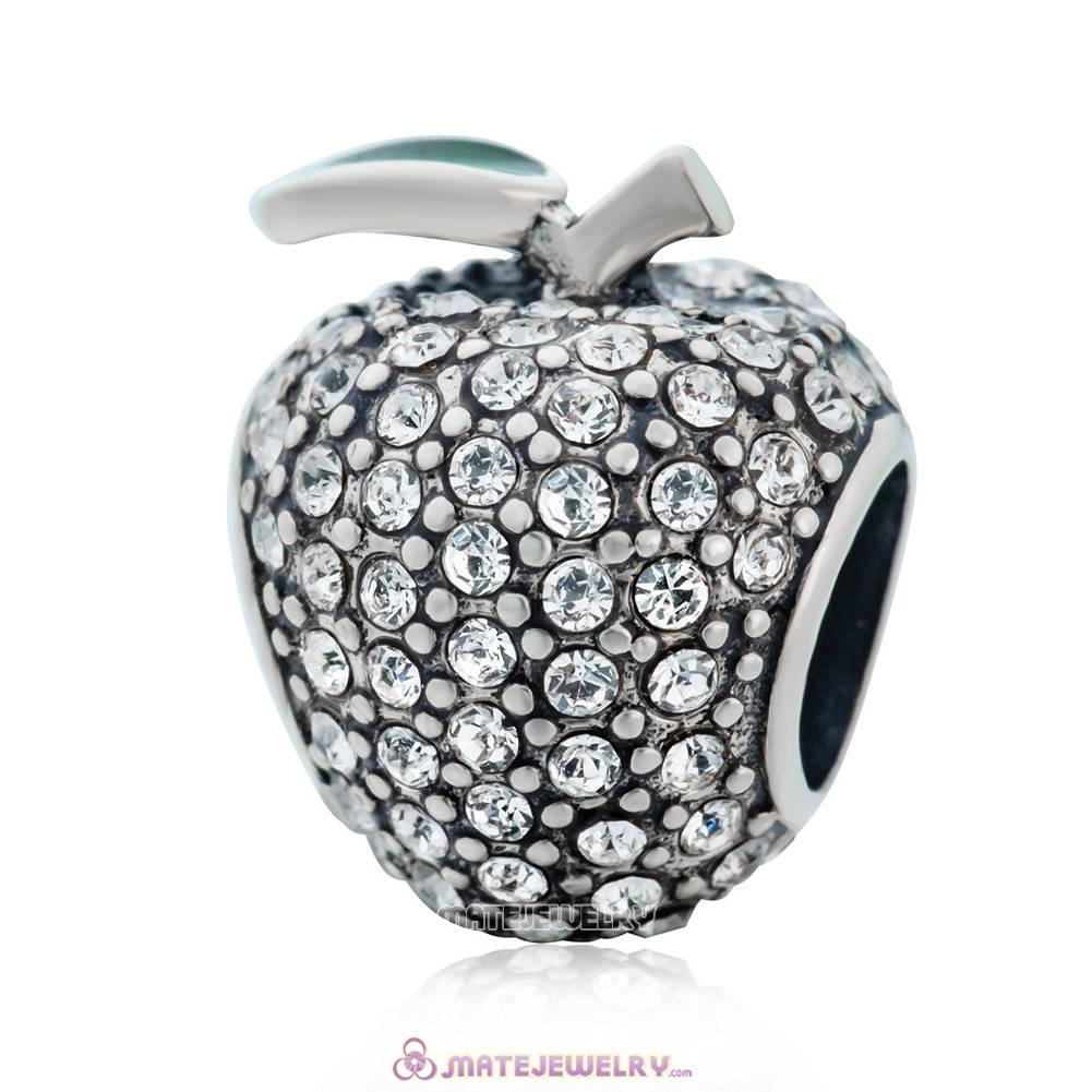 Sweet Sparkling Apple Charm with Clear Crystal