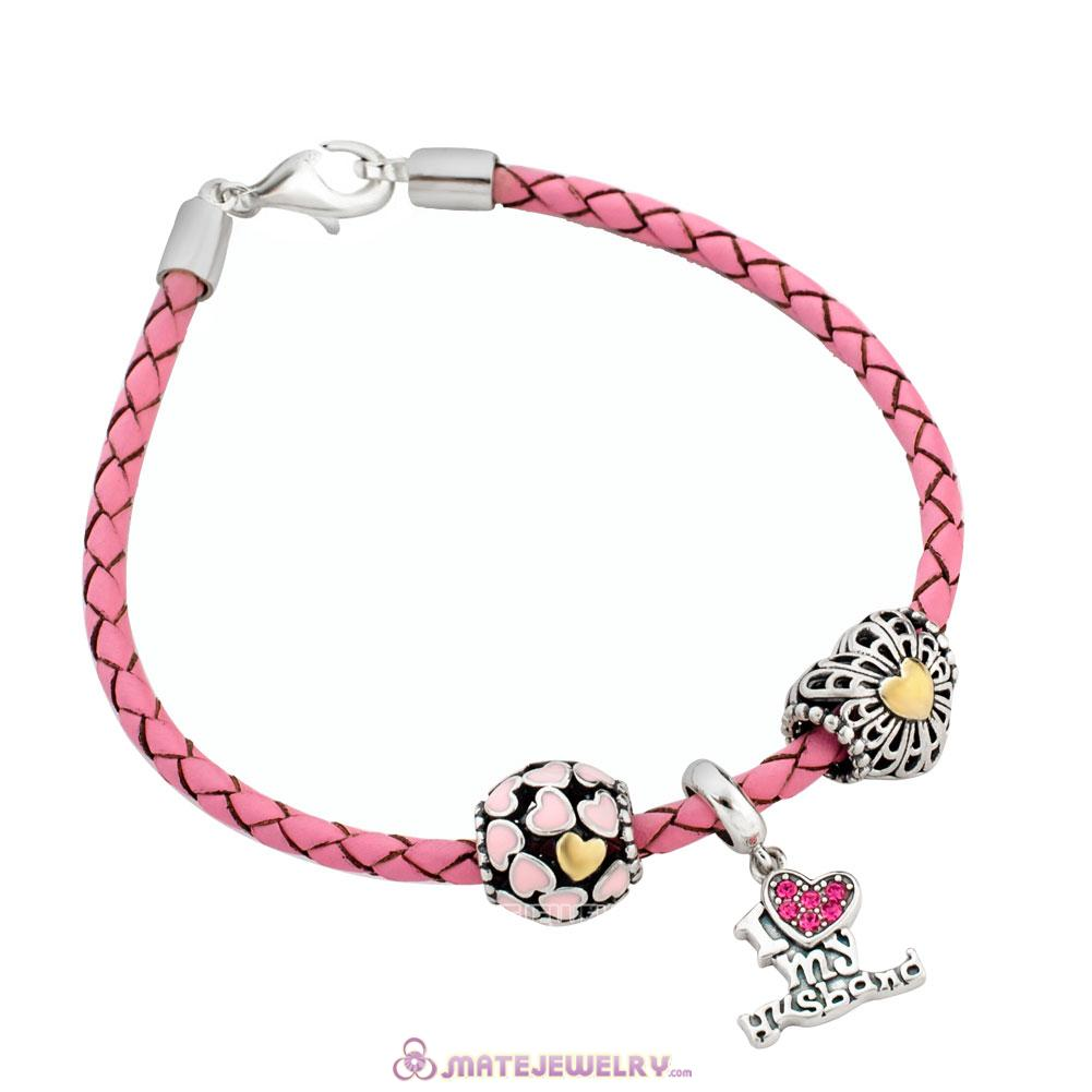Pink Braided Leather Valentines Bracelet Charms From Husband with Sterling Silver Lobster Clasp