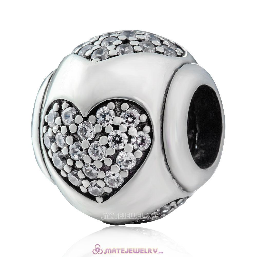 Sparkling True Love 925 Sterling Silver Clear CZ Charm Bead
