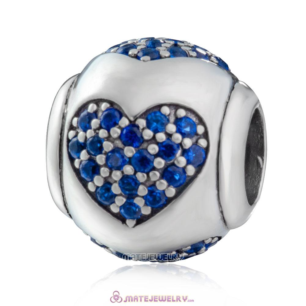 Sparkling True Love 925 Sterling Silver Blue CZ Charm Bead