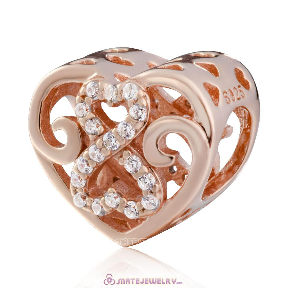 925 Sterling Silver Rose Gold Infinity Heart Charms Beads with Zirconia