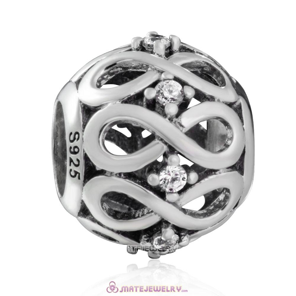925 Sterling Silver Infinity Shine Charm with White Zirconia