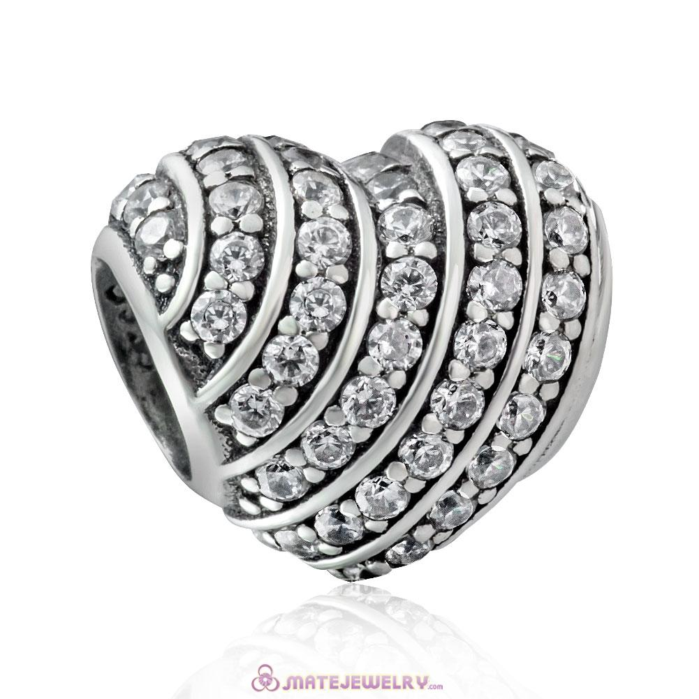 925 Sterling Silver Pave Heart Charm with White Zirconia