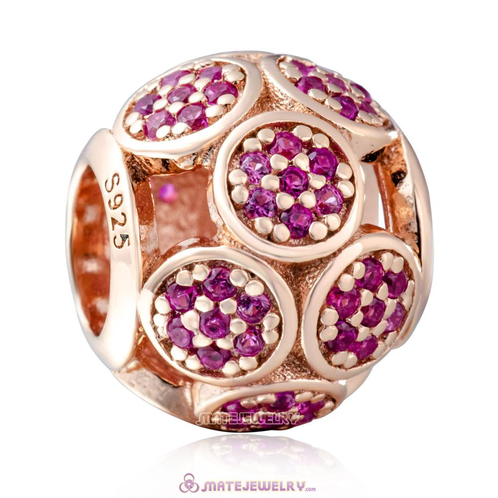 925 Sterling Silver Rose Gold Whimsical Lights Charm with Fuchsia Zircon