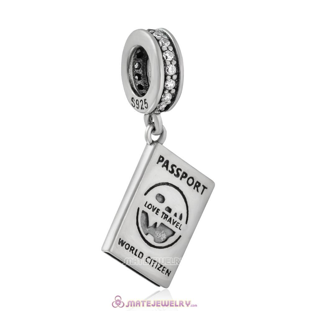925 Sterling Silver Love Travel Passport Charm