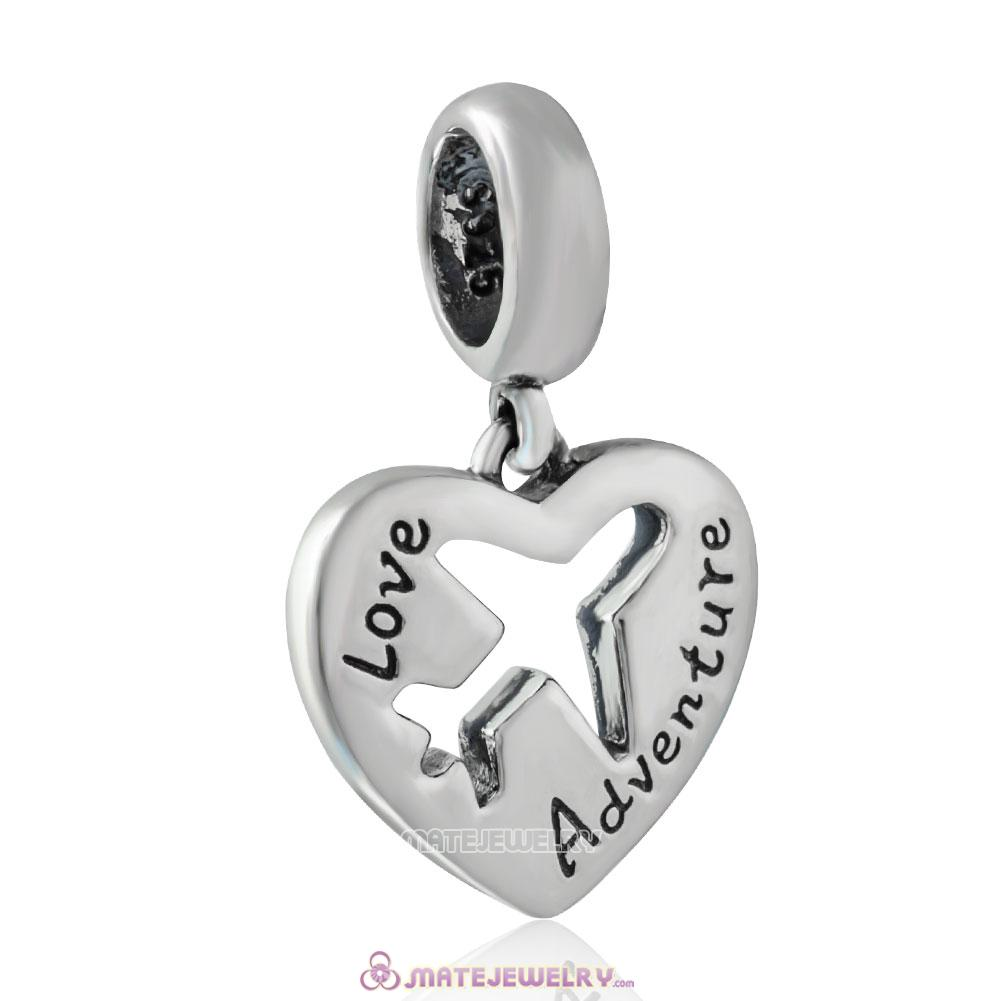 925 Sterling Silver Love Adventure Heart Charm