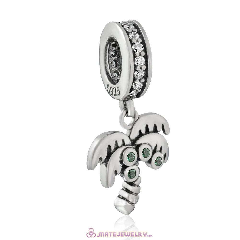 925 Sterling Silver Palm Tree Zircon Charm