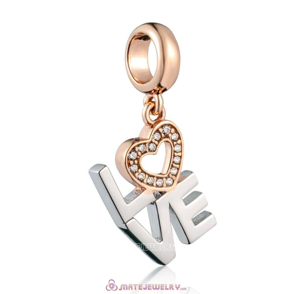925 Sterling Silver Rose Gold Heart Charm with Clear cz