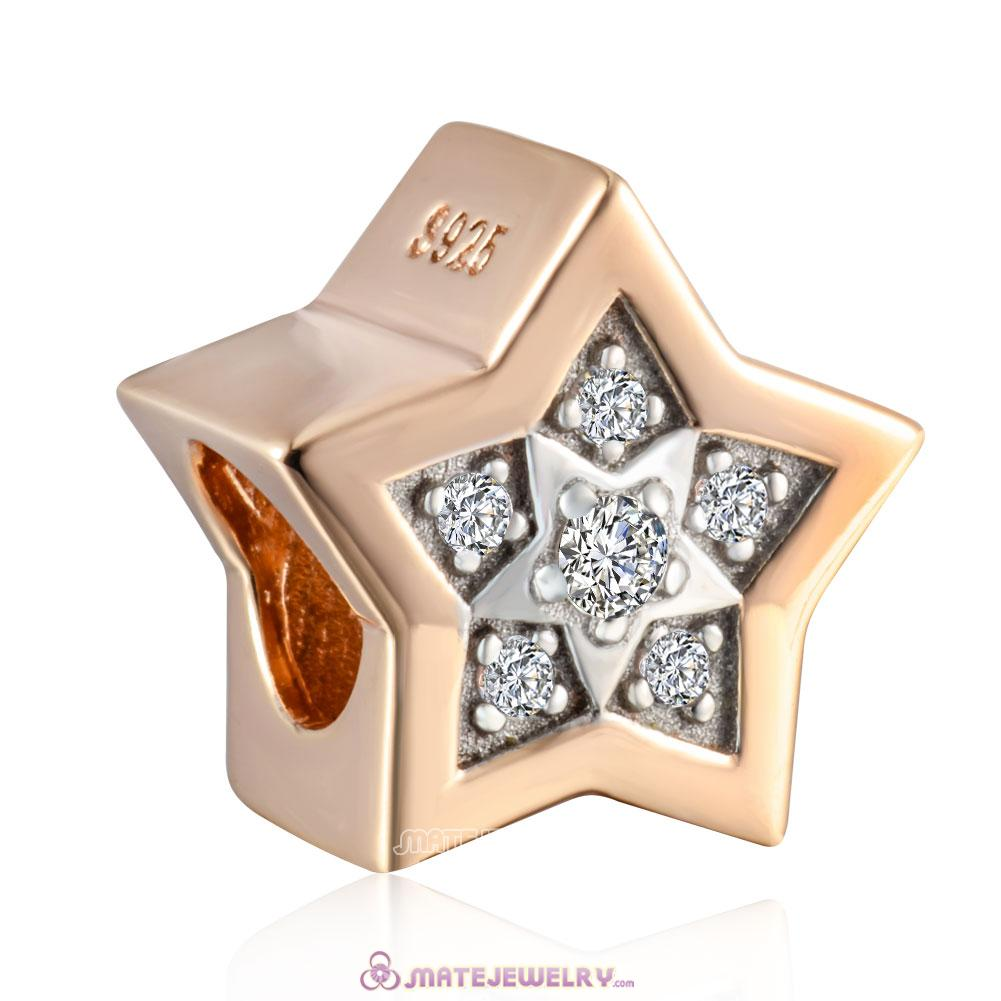 925 Sterling Silver Rose Gold Star Charm with White Stones