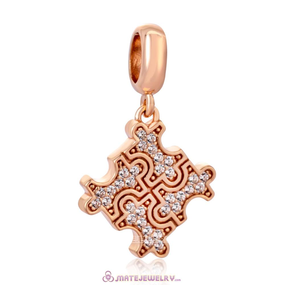 Rose Gold Puzzle Piece Heart with Zirconia Pendant Charm