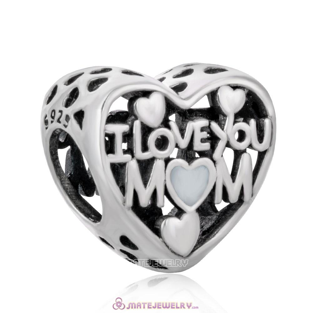 Openwork I Love You Mom Charm Beads with Enamel