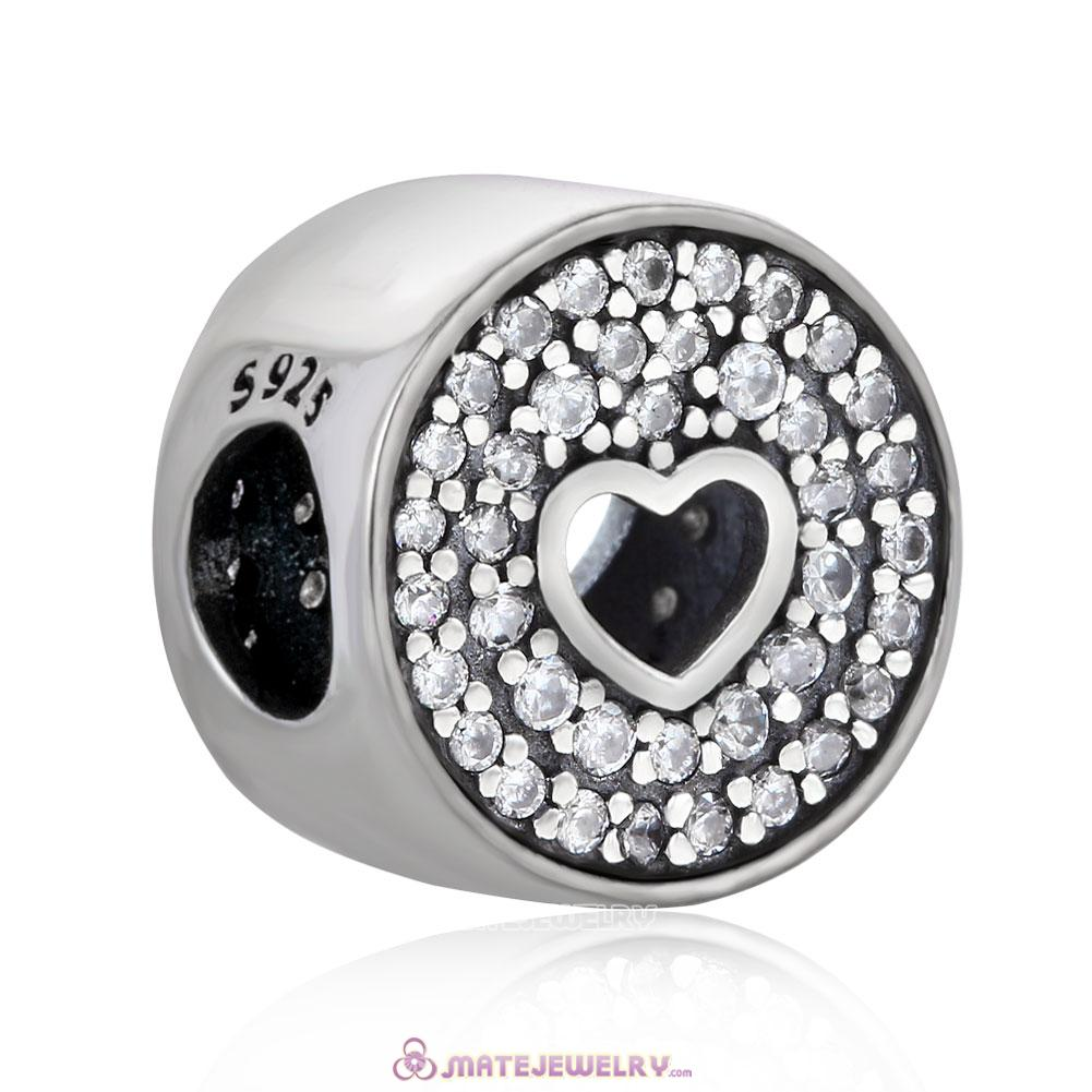 Anniversary Celebration Heart Charm with White Zircon