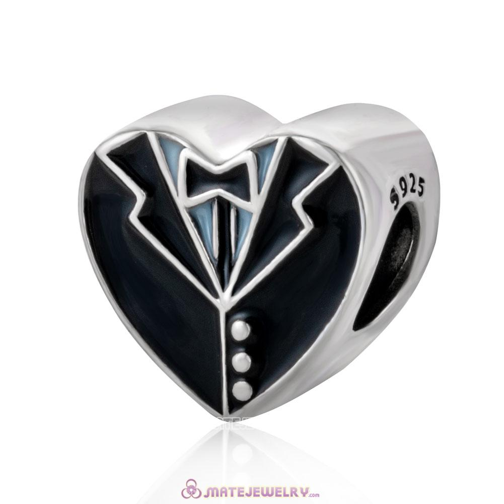 Our Special Day Heart with Black and White Enamel Charm