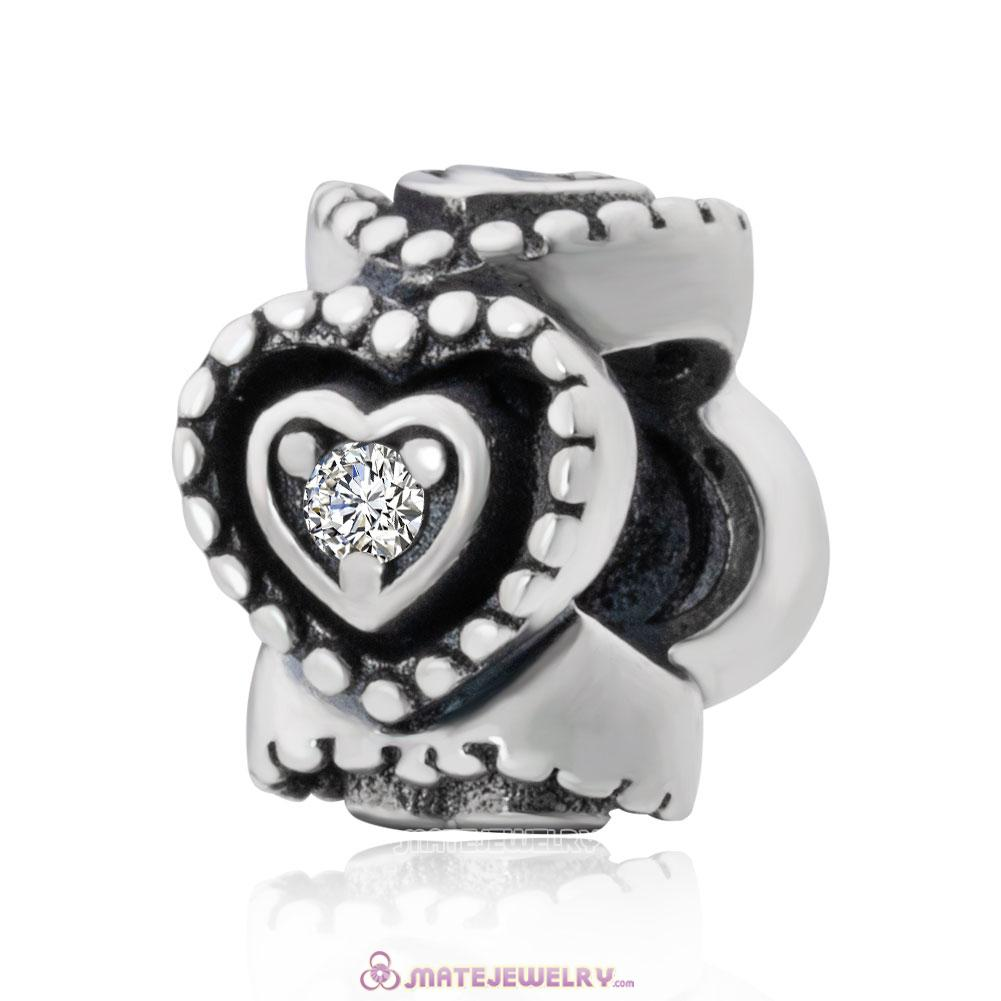 Silver Cubic Zirconia Heart Spacers Charms with Zircon