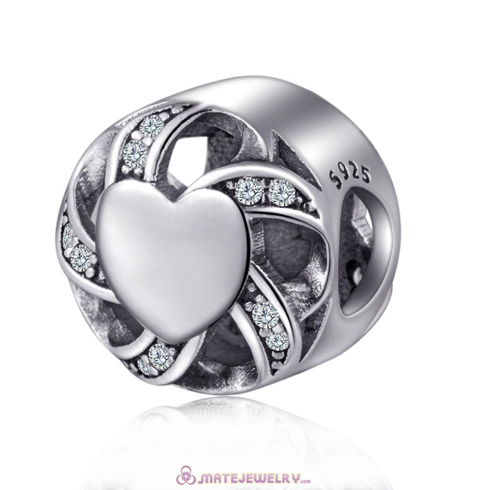 Silver Cubic Zirconia Ribbon Heart Charms