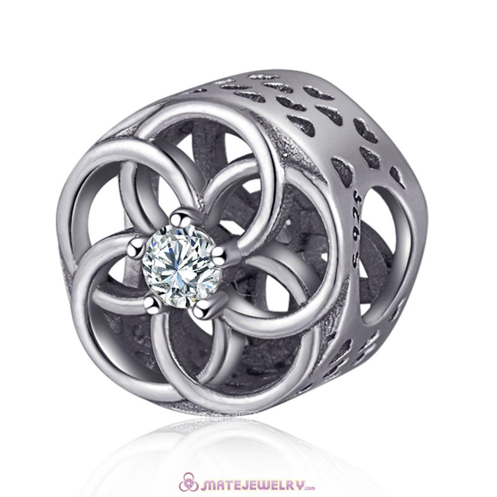 Silver Openwork Flower Charms Beads European with Clear CZ