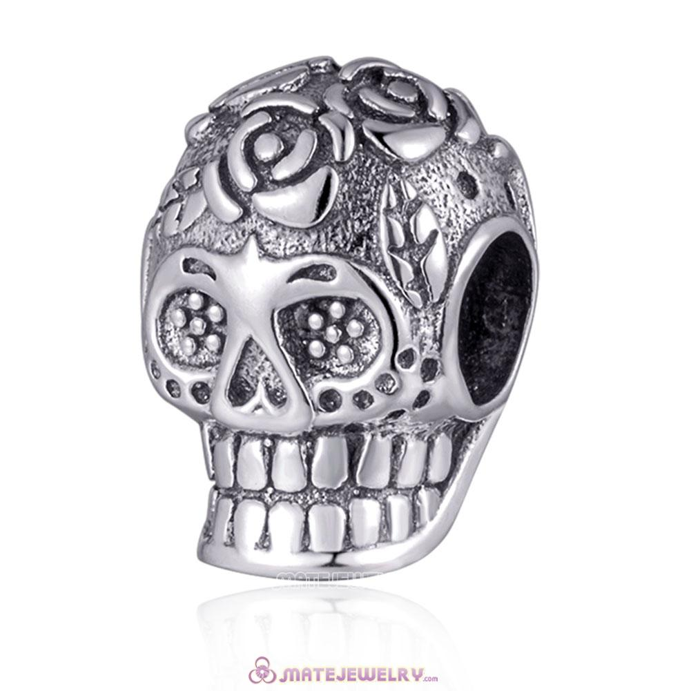 Silver Halloween Sugar Skull Charms Beads