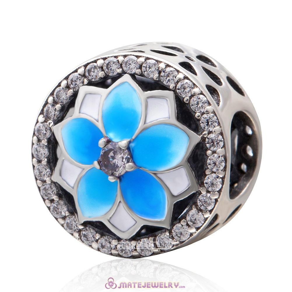Magnolia Flower Light Blue Enamel Charms with Clear CZ