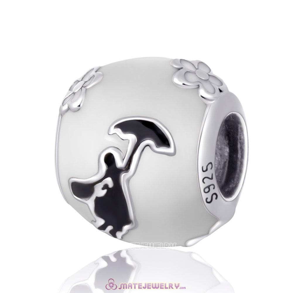 Mary Poppins Silhouette Charm Beads with Enamel