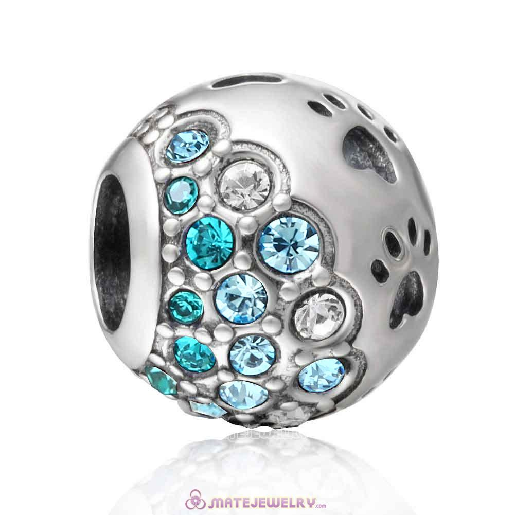 Aquamarine Style Dog Paw Print Charm with Austrian Crystal