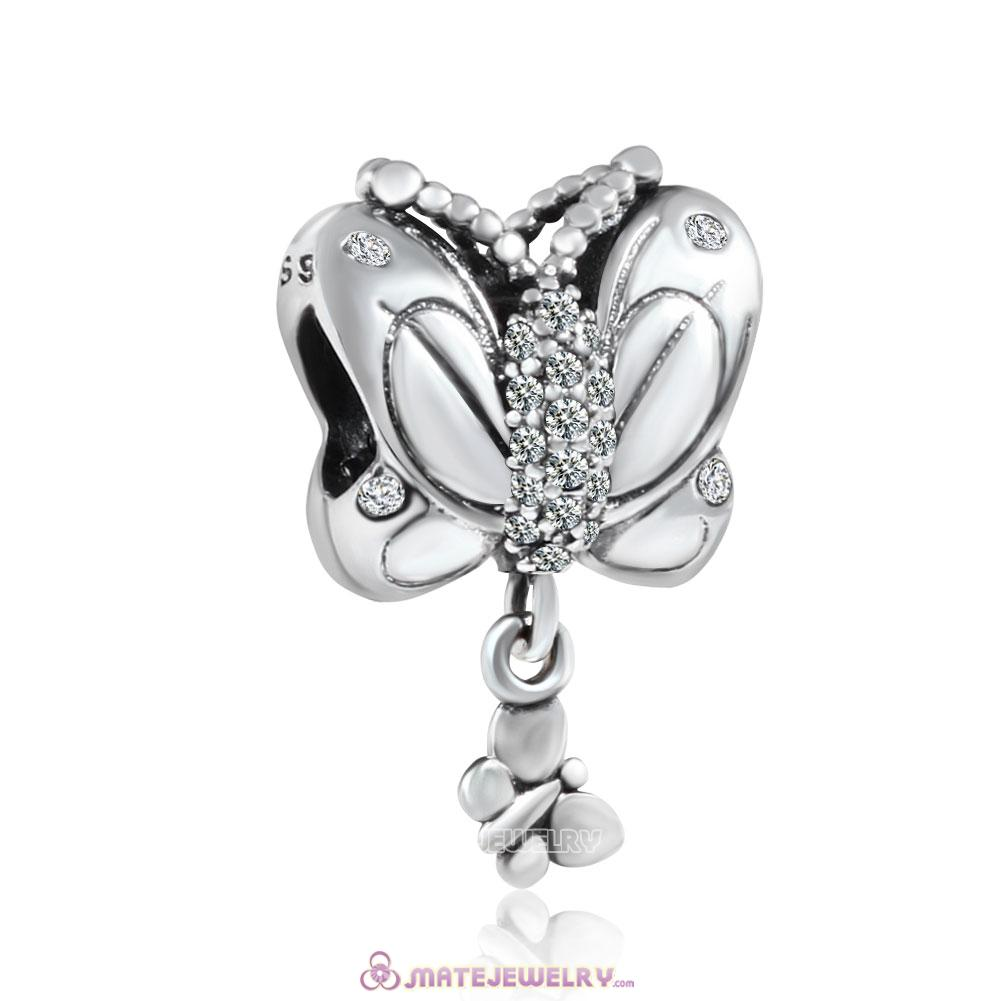 925 Silver Mother Baby Butterfly Charm Clear CZ