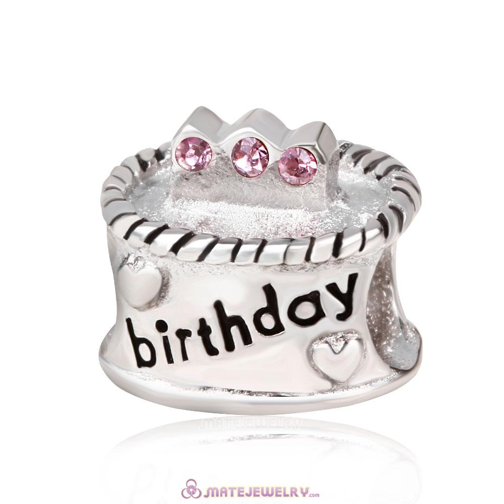 Sterling Silver Birthday Cake Charm Beads with Pink Austrian Crystal