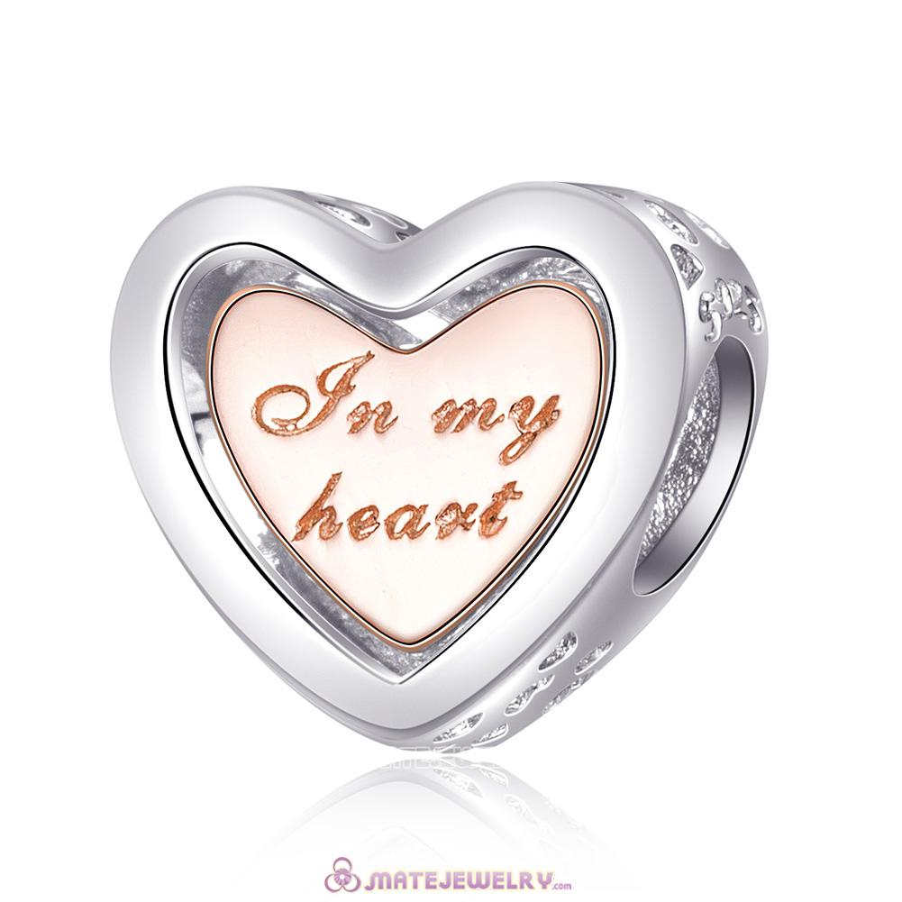 Rose Gold In My Heart Charm 925 Solid Sterling Silver