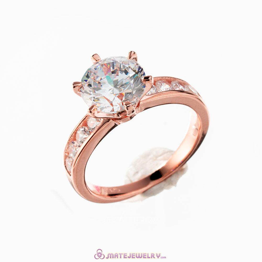 Rose Gold Shine Diamond Ring Clear CZ