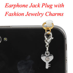 Earphone Jack Plug With Key Heart Charms Jewelry
