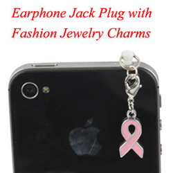 Earphone Jack Plug With Pink Ribbon Charms Jewelry
