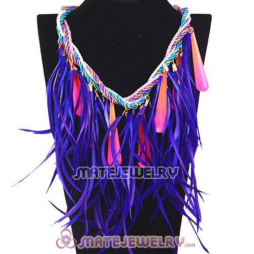 Chunky Rope Drip Feather Tassel Choker Bib Necklace